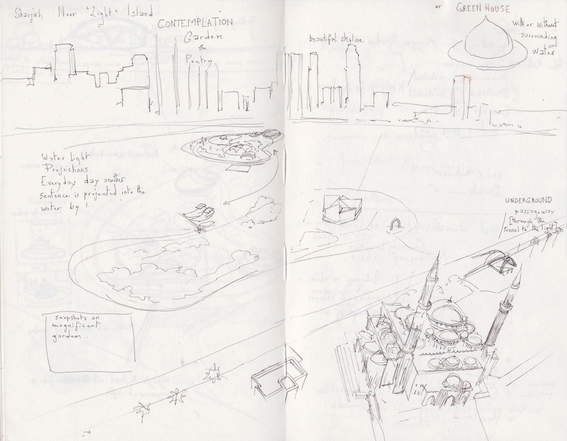 Sharjah Noor island sketch.