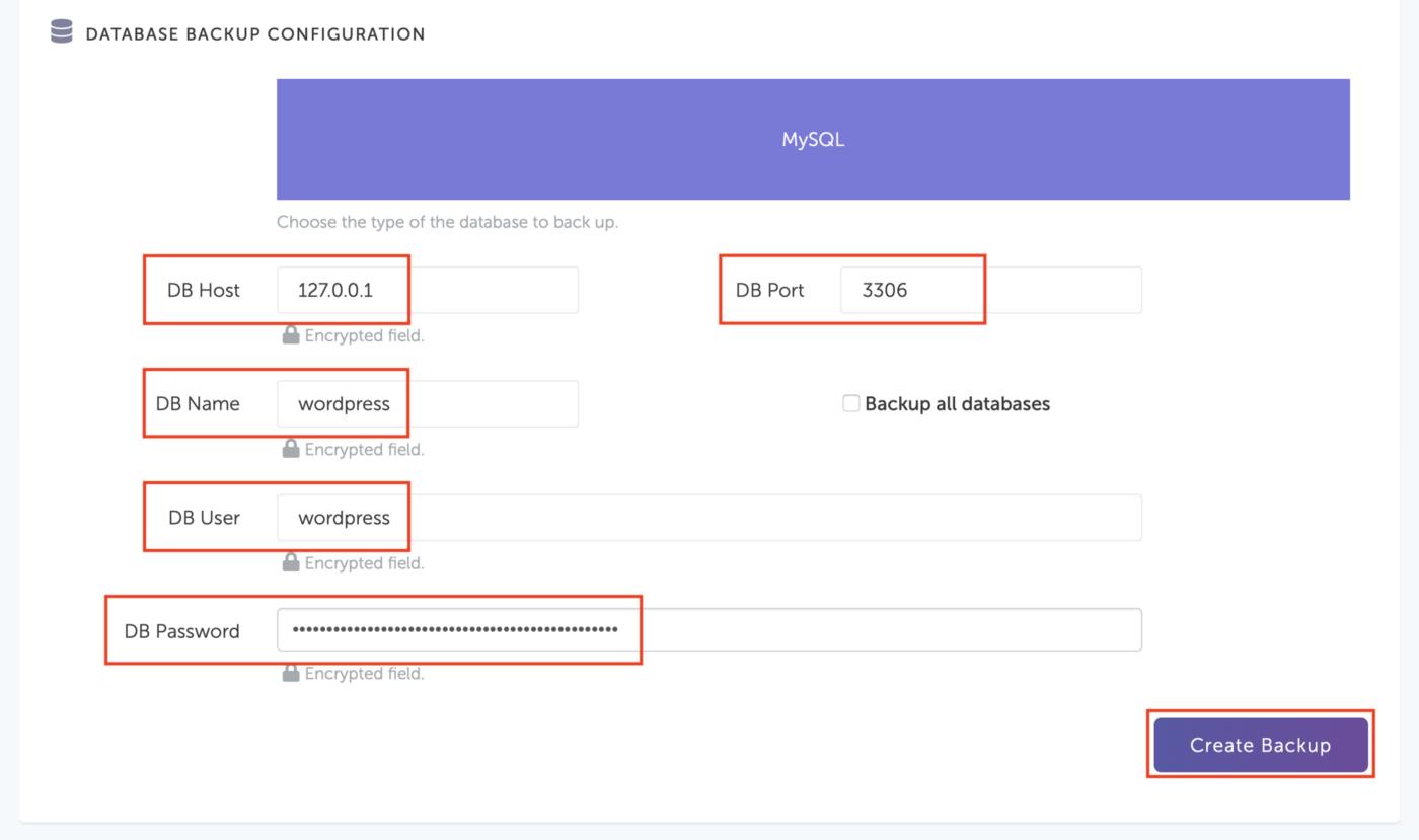 SimpleBackups - Database Credentials