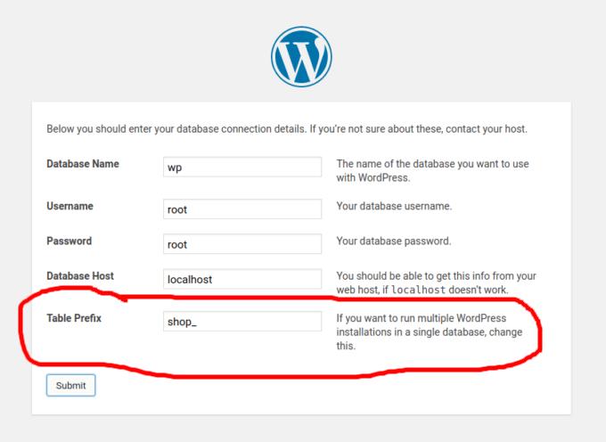 WordPress database table