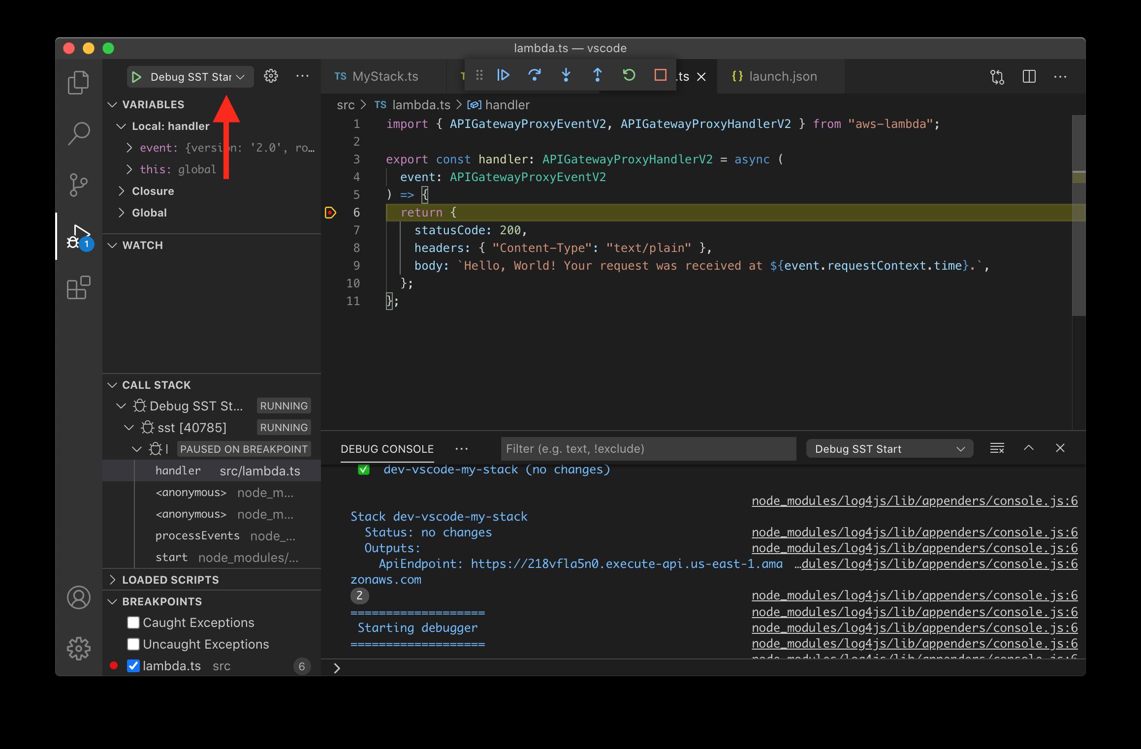 VS Code debug SST start