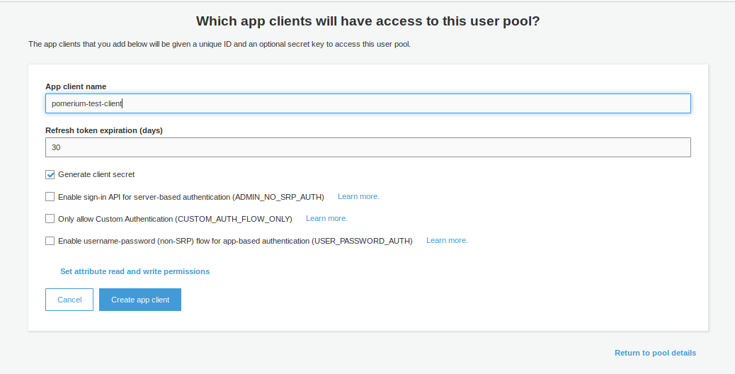 AWS Cognito Create App Client