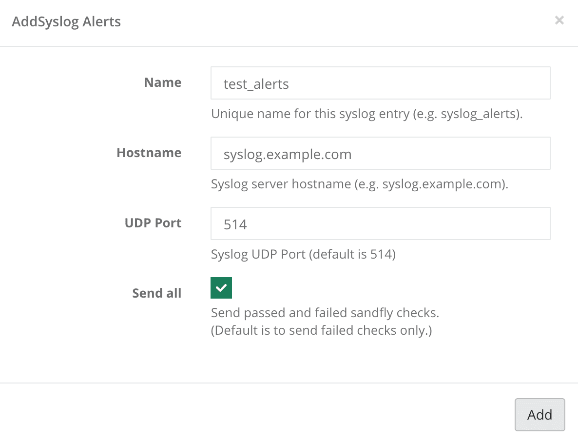 Syslog alerts example