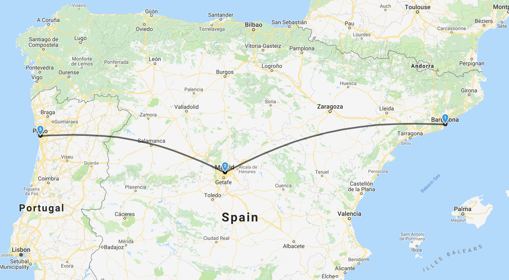 Map showing Spain and Portugal and a line linking Barcelona to Madrid and Porto