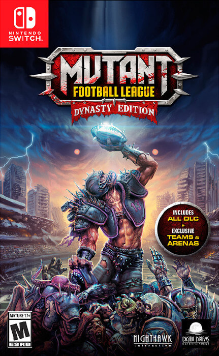 The boxart for Mutant League Football: Dynasty Edition for the Switch