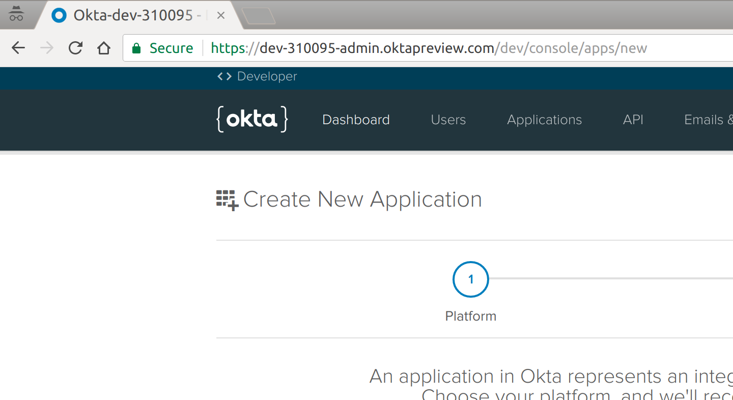 Okta Create Application