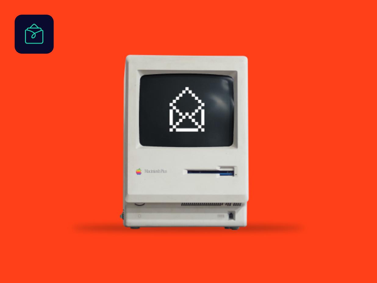 Old desktop computer with pixelated open envelope