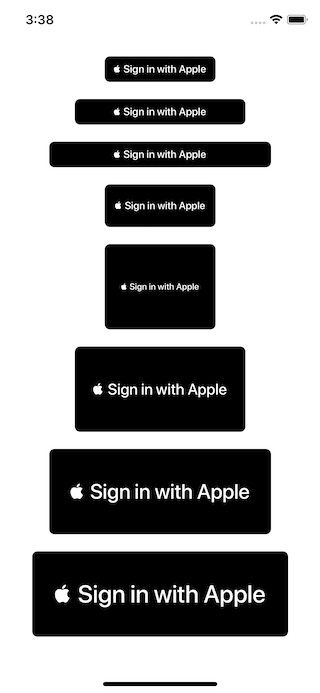 Size variation of sign in with Apple buttons