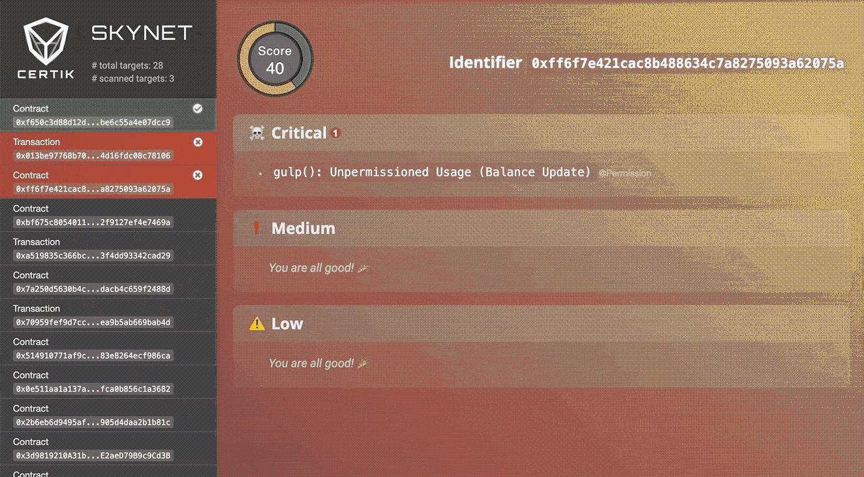 Screencap of CertiK's Skynet platform