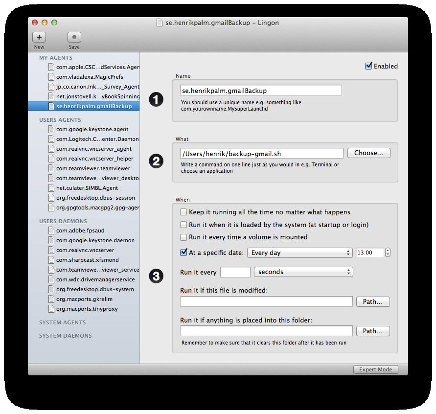 Configure Gmail backup script with Lingon