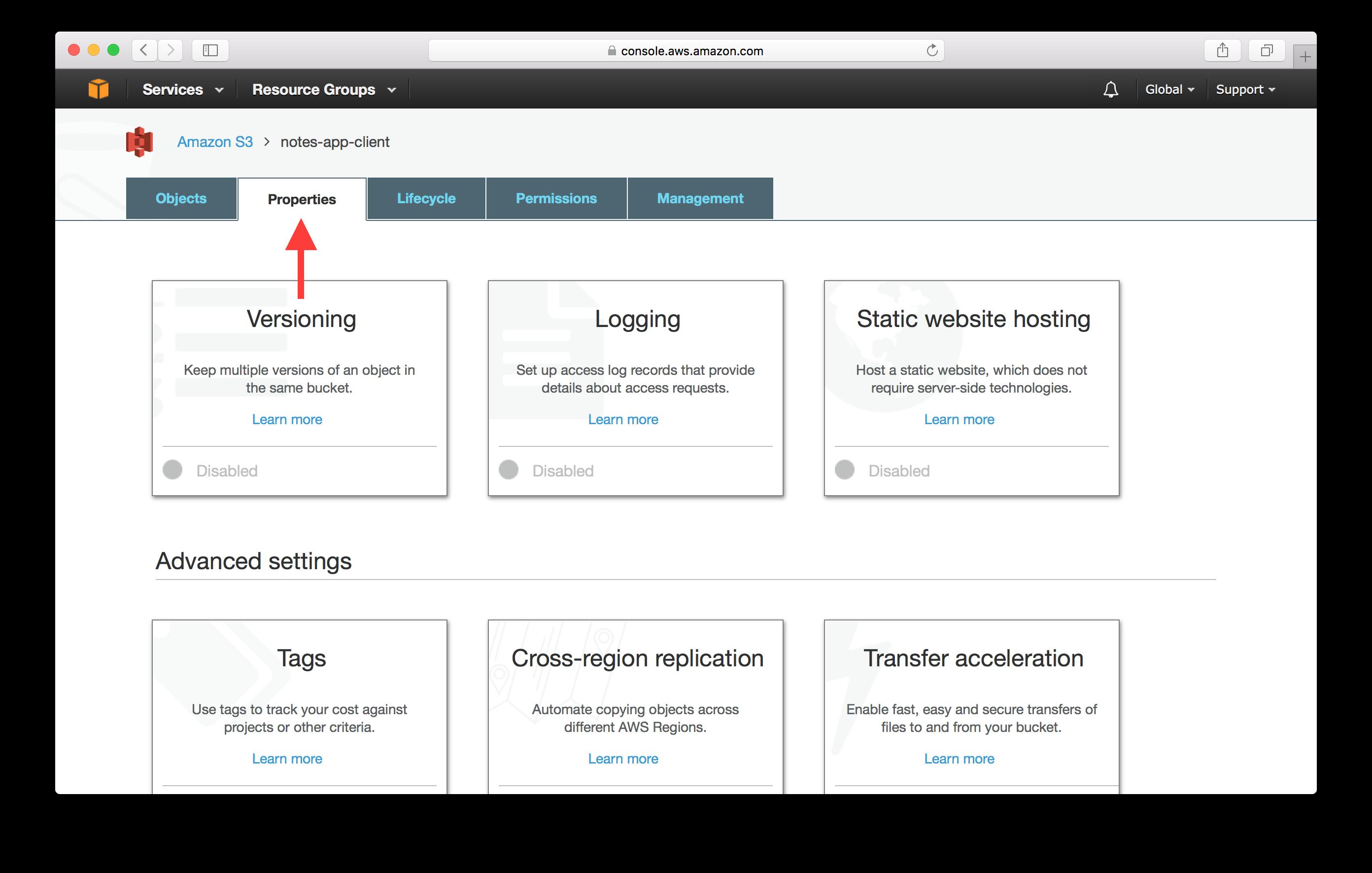 Select properties tab screenshot