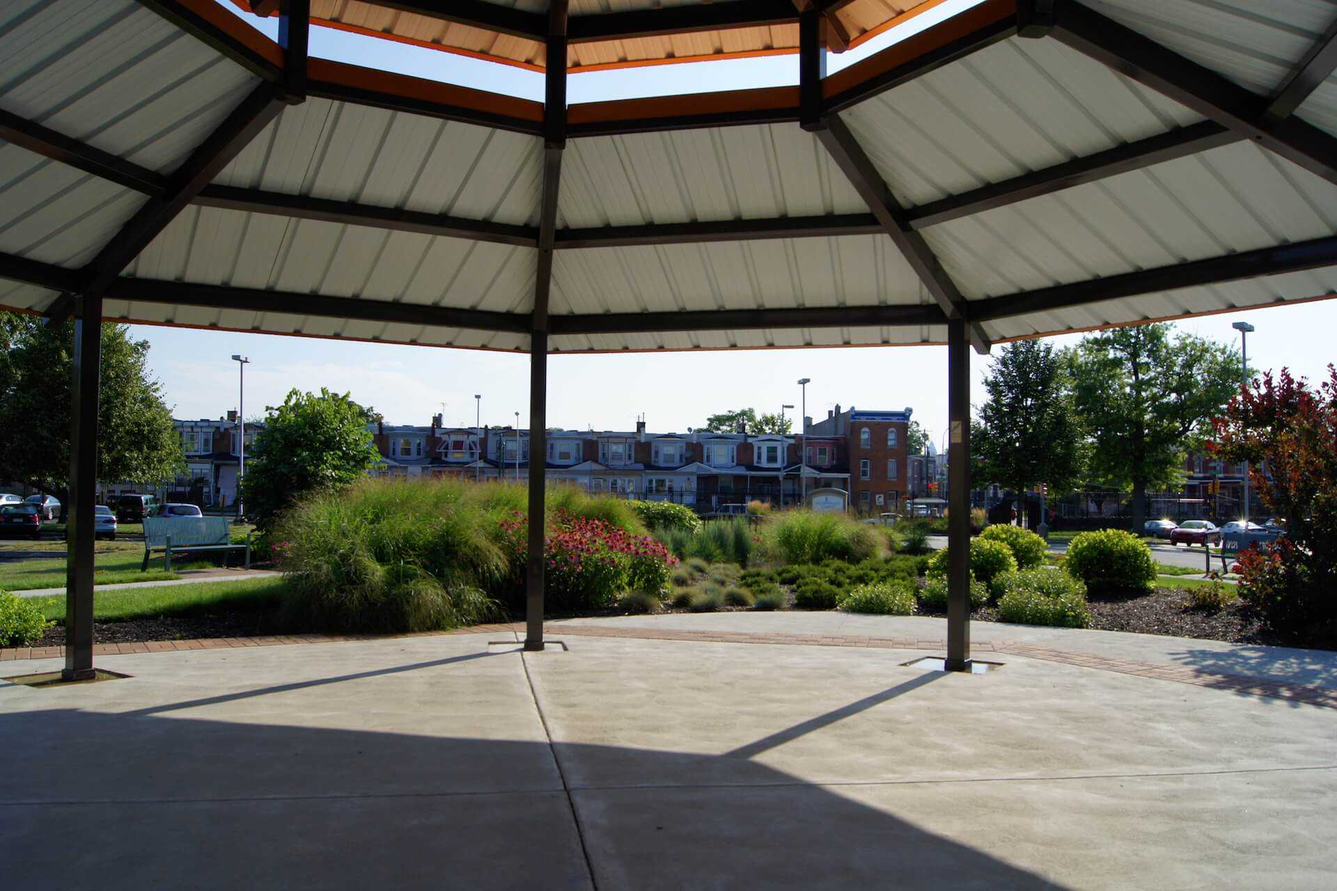 Looking out from inside the gazebo