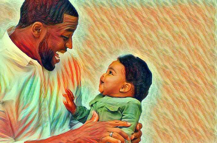 Illustration of a father singing with his baby and matching pitches