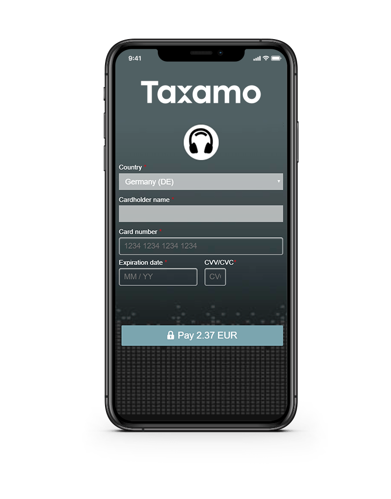 Phone displaying the Taxamo Checkout Form
