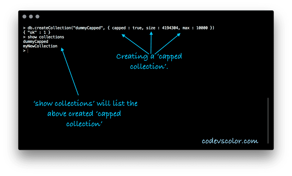 MongoDB create Capped collection