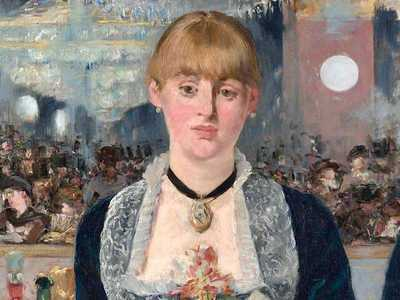 The central barmaid in Manet's Bar at the Folies Bergeres.