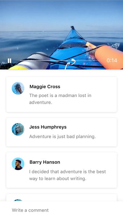 Fiber UI Kit: playing video screen