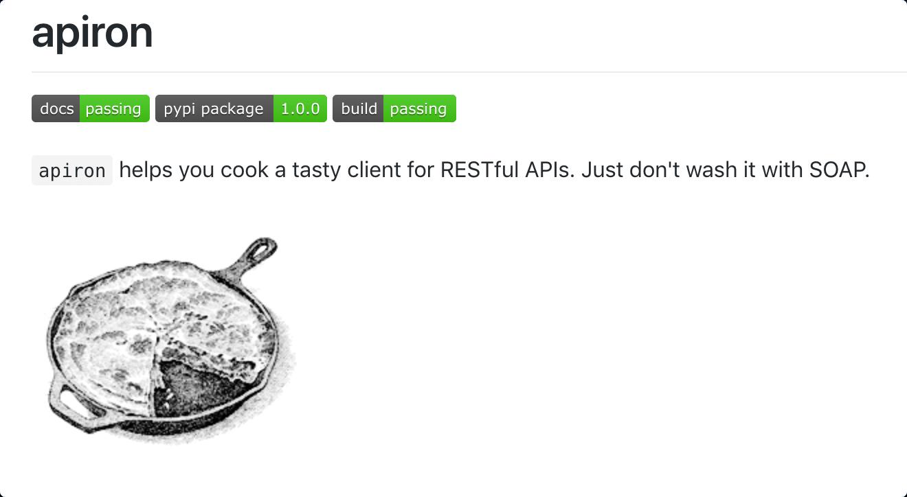 Screenshot of apiron GitHub page