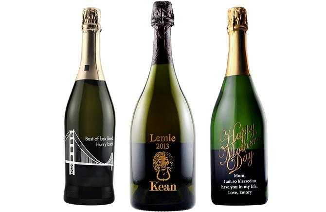 Custom etched champagne bottles by Etching Expressions