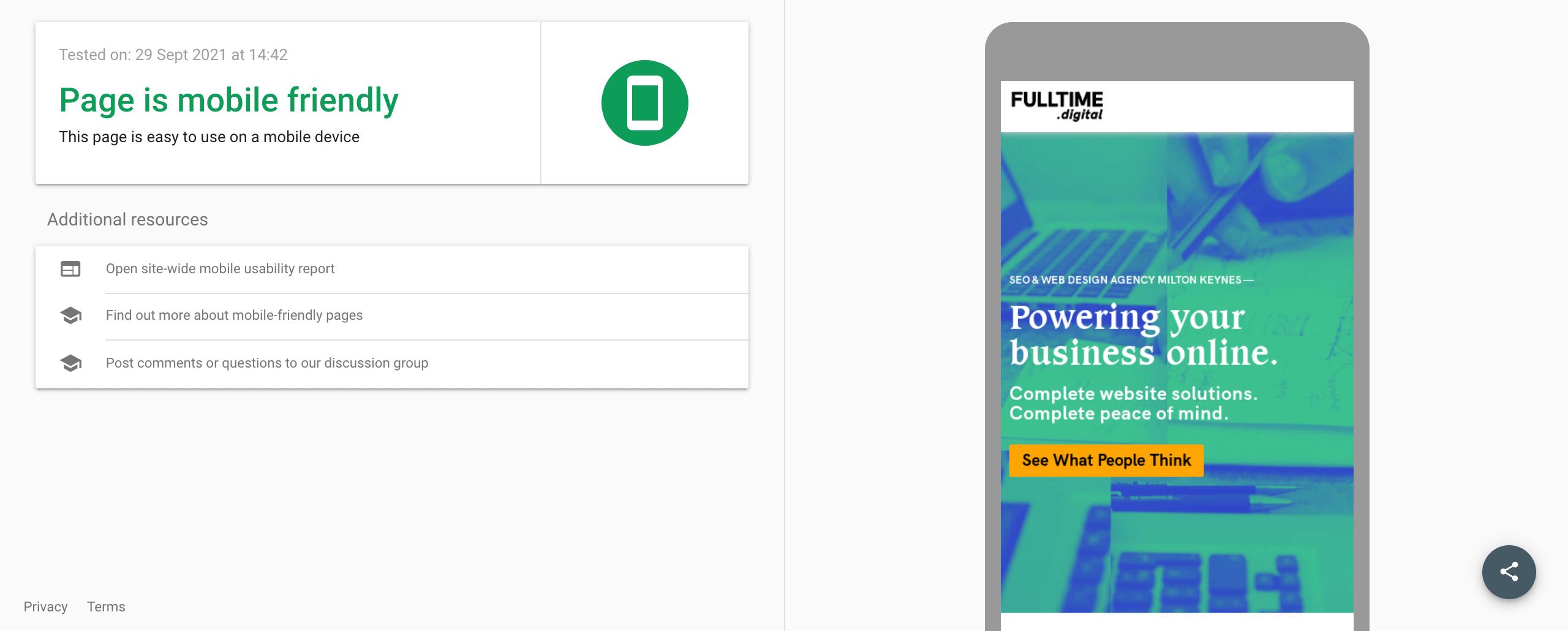 fulltime digital mobile friendly website test