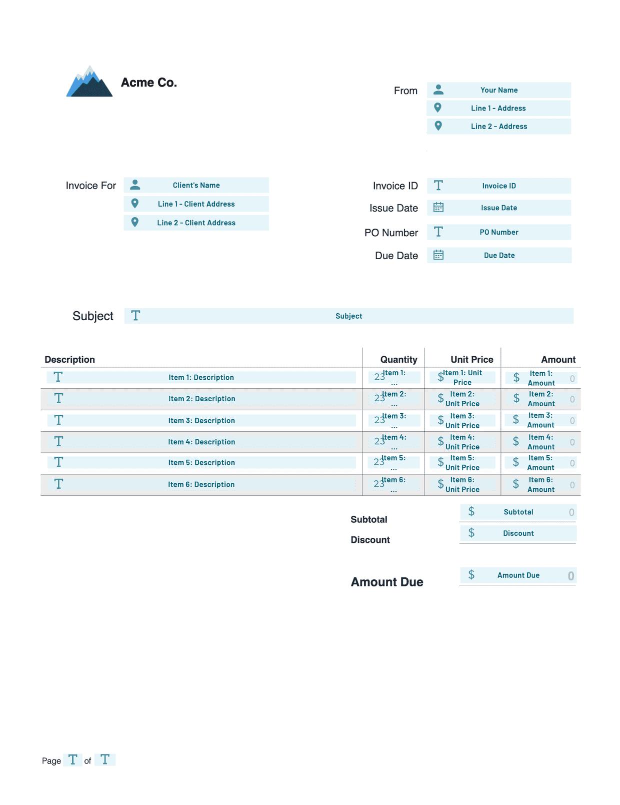 invoice pdf template