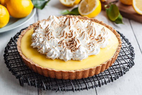 Gluten Free Lemon Custard Cream Tart With Swiss Meringue