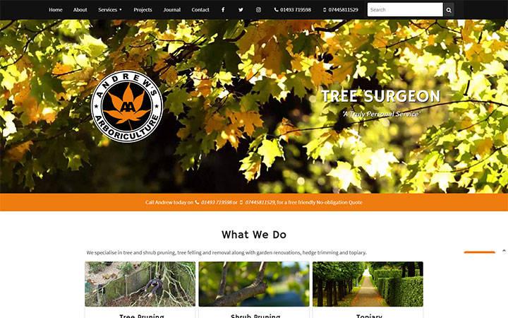 Andrews Arboriculture website frontpage
