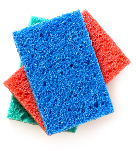 Stack of blue, red, and green cellulose sponges