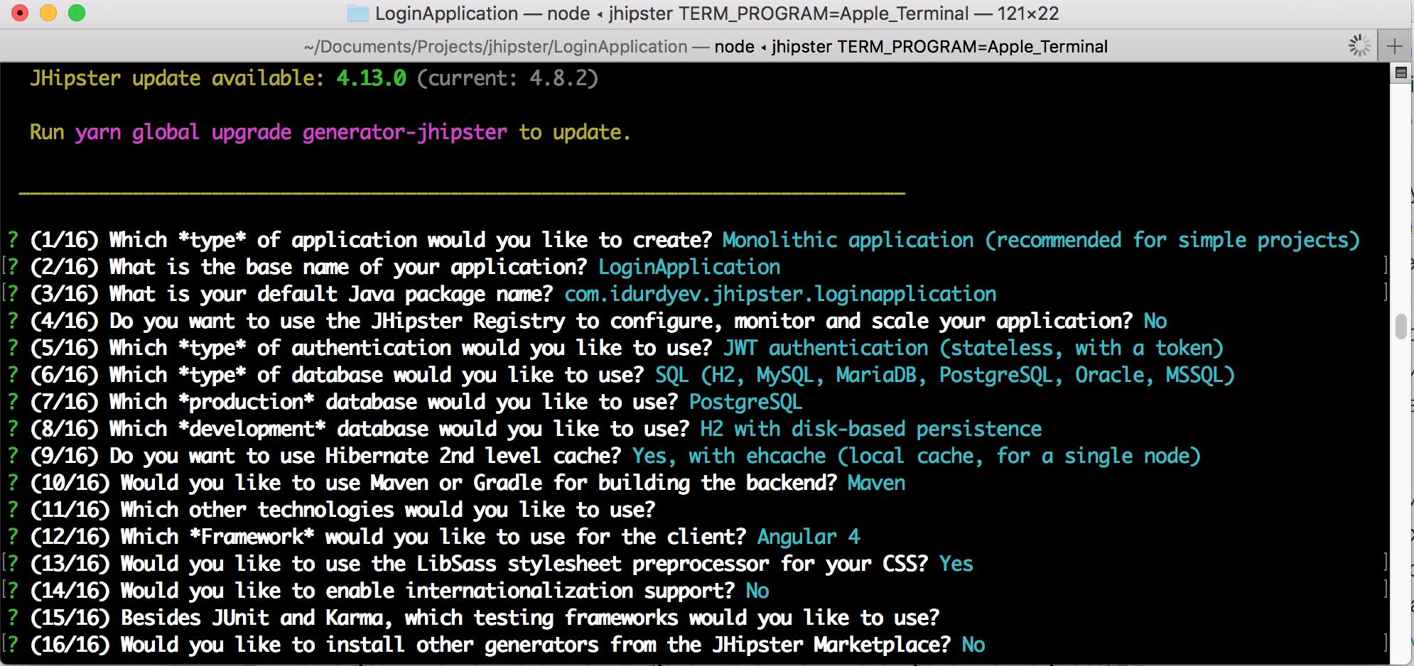 Создание приложения JHipster вопросы ответы