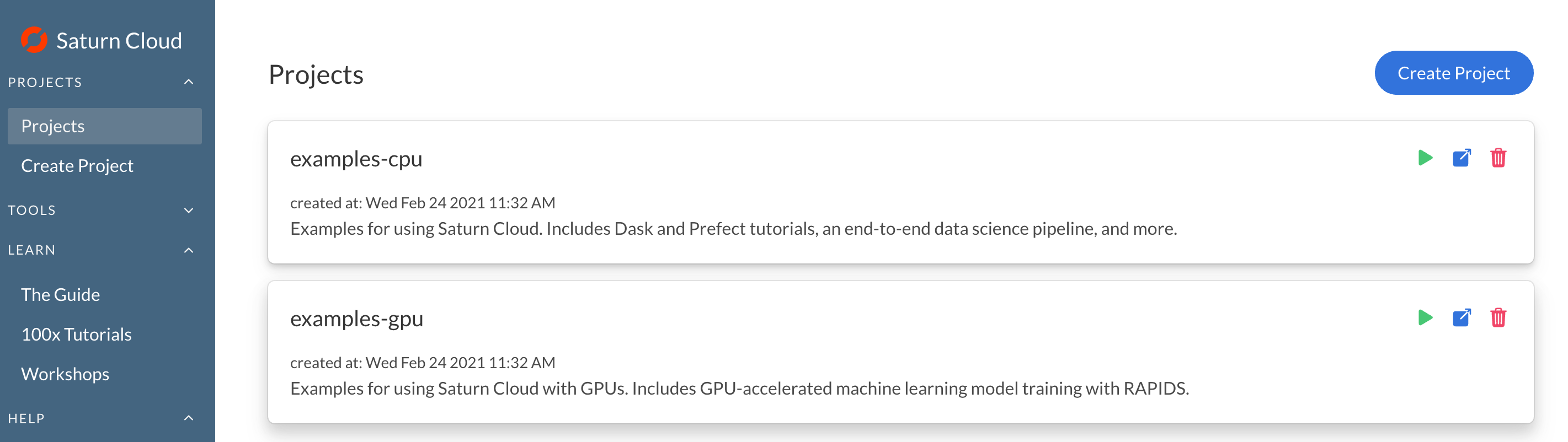 Screenshot of Saturn Cloud Projects page