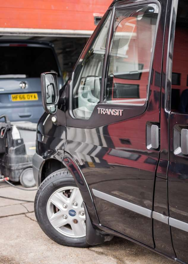 Ford Transit van with poor/bad/dull paintwork before polishing