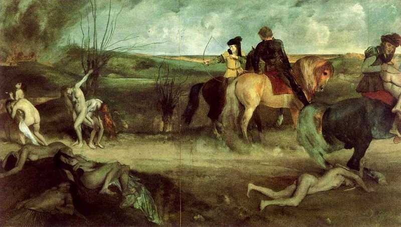 Degas' Suffering of New Orleans, typical of the historical paintings produced by the artist in his early career.