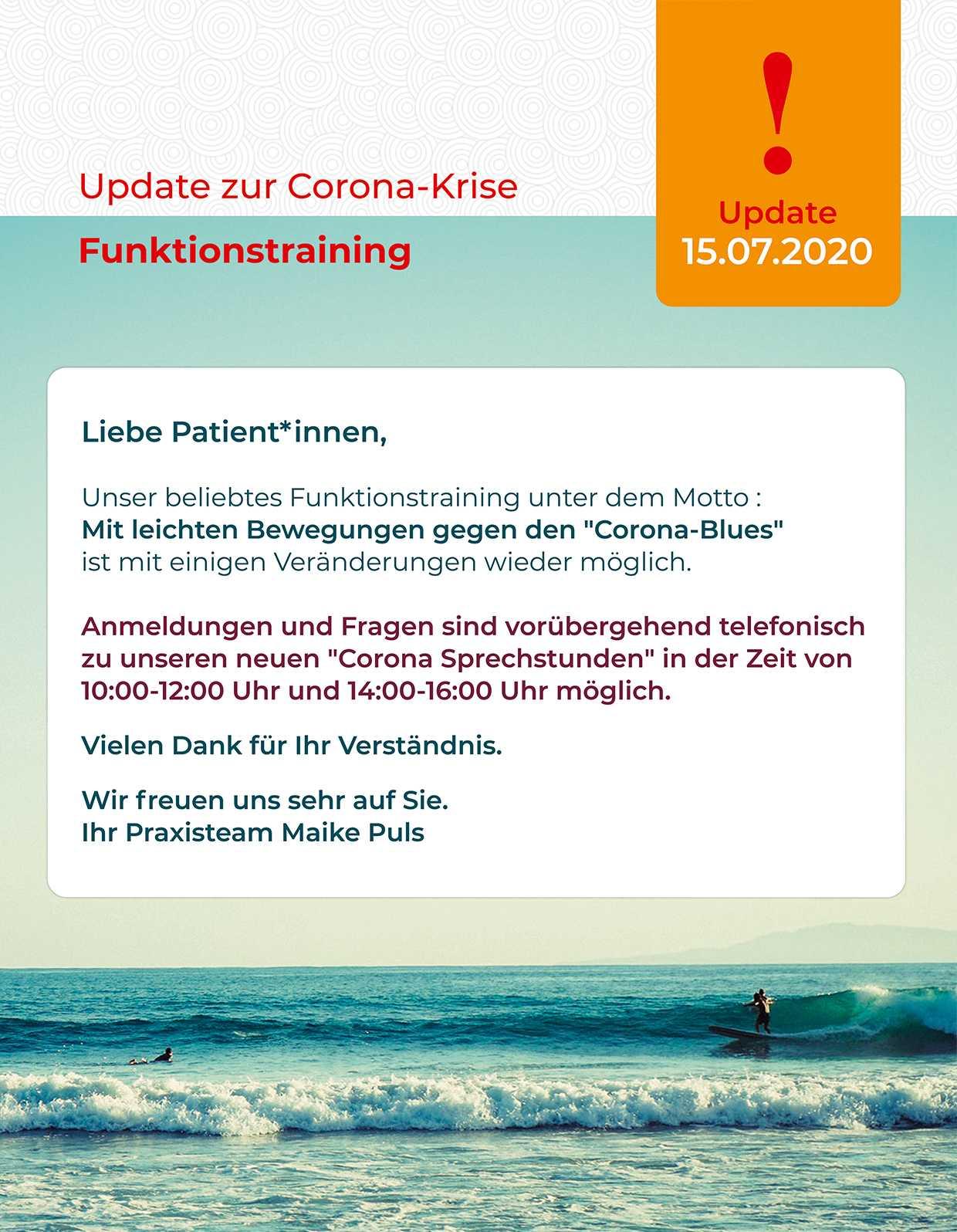 Aktuelle Information zum Coronavirus in unserer Physiotherapiepraxis