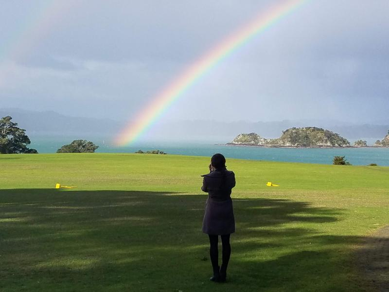 Rainbow over the grounds and Emma