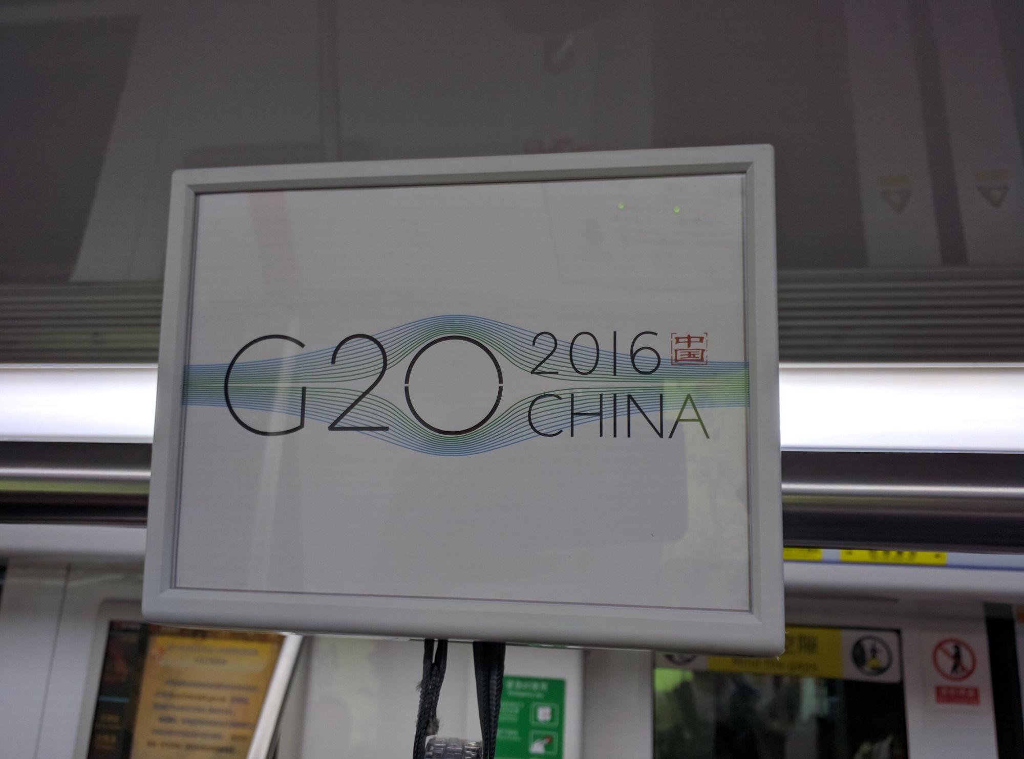 Und G20 Werbung in der U-Bahn.