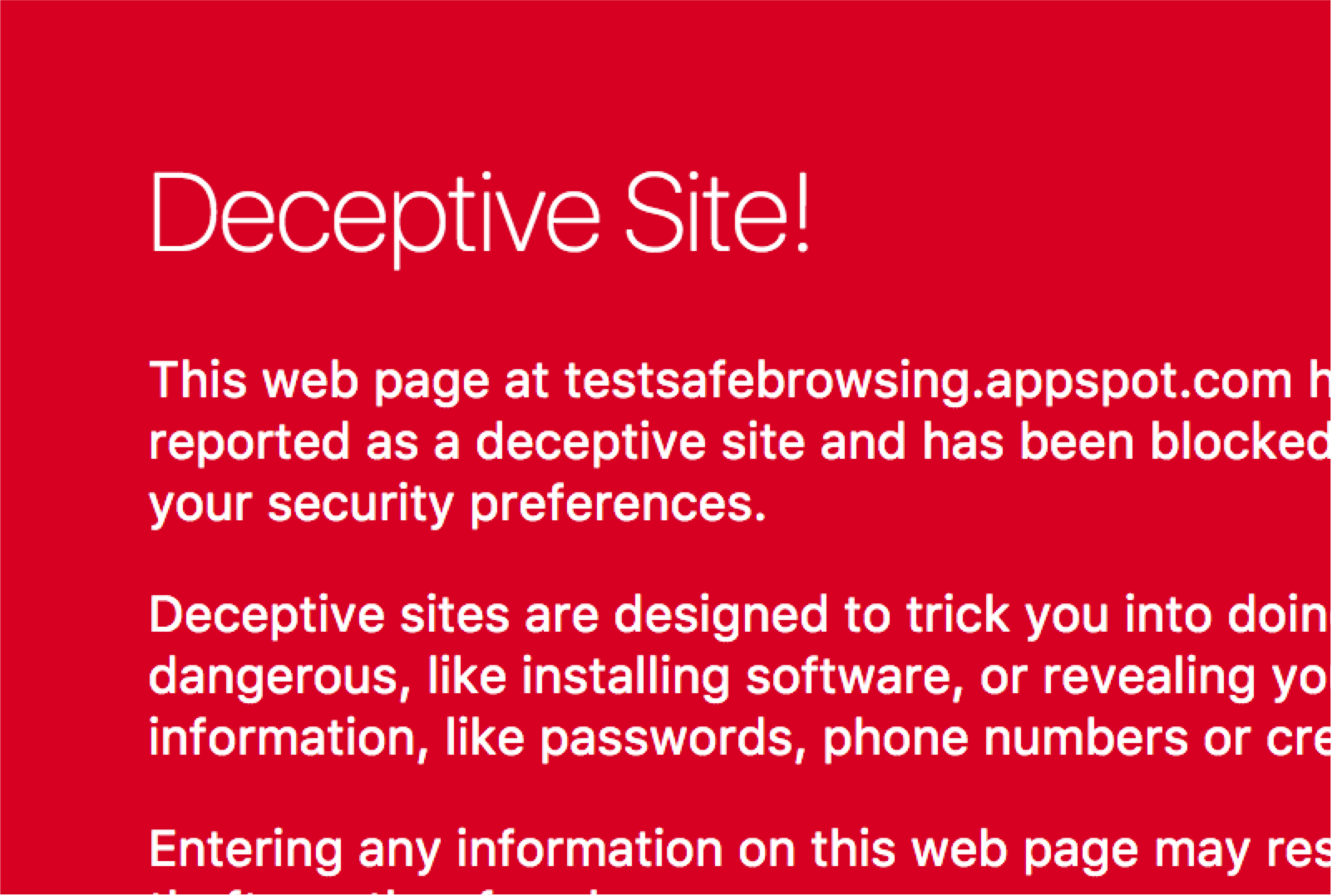 An indication of a deceptive website