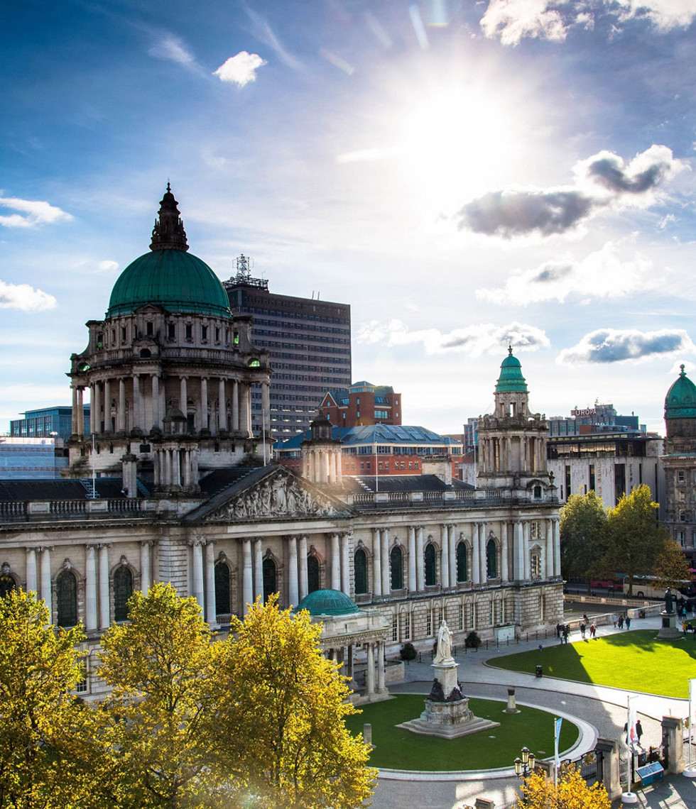 Belfast City Hall at the center of Belfast