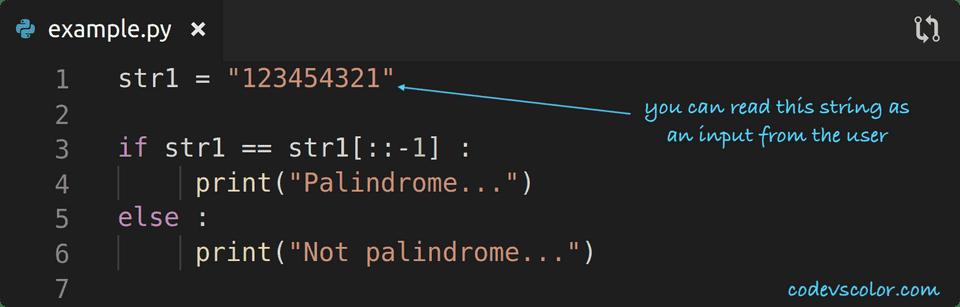 python check palindrome