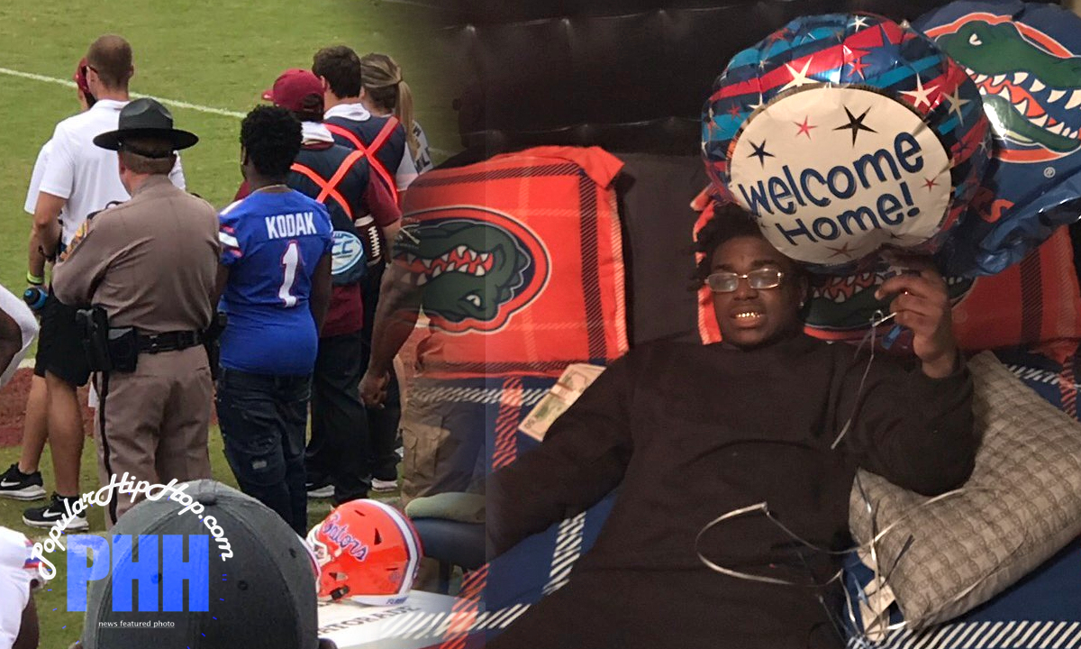 Kodak Black on sidelines of Florida Gators vs Florida State Seminoles November 2018 Football Game