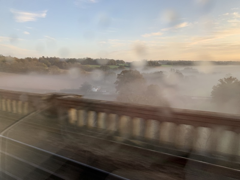 Morning mist over the Sussex countryside, viewed from a railway viaduct.