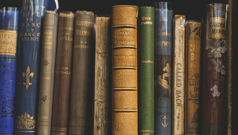 Ancient hardback, embellished spine, old historical books sit on a shelf different heights and colours containing data #Xero