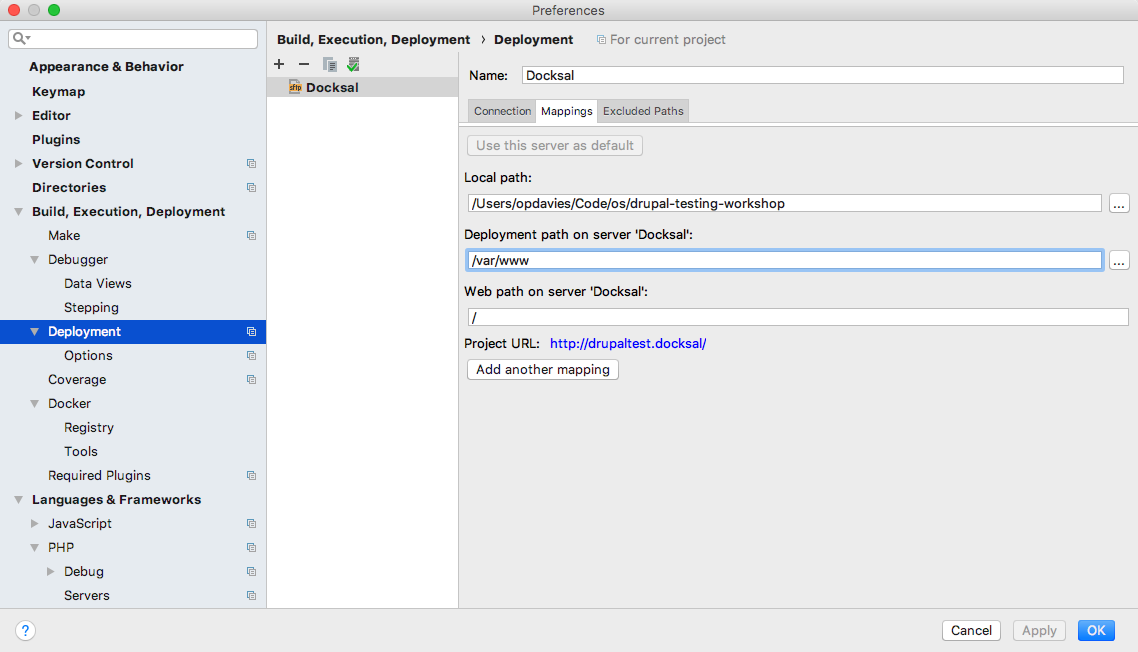 Add mappings to the deployment server