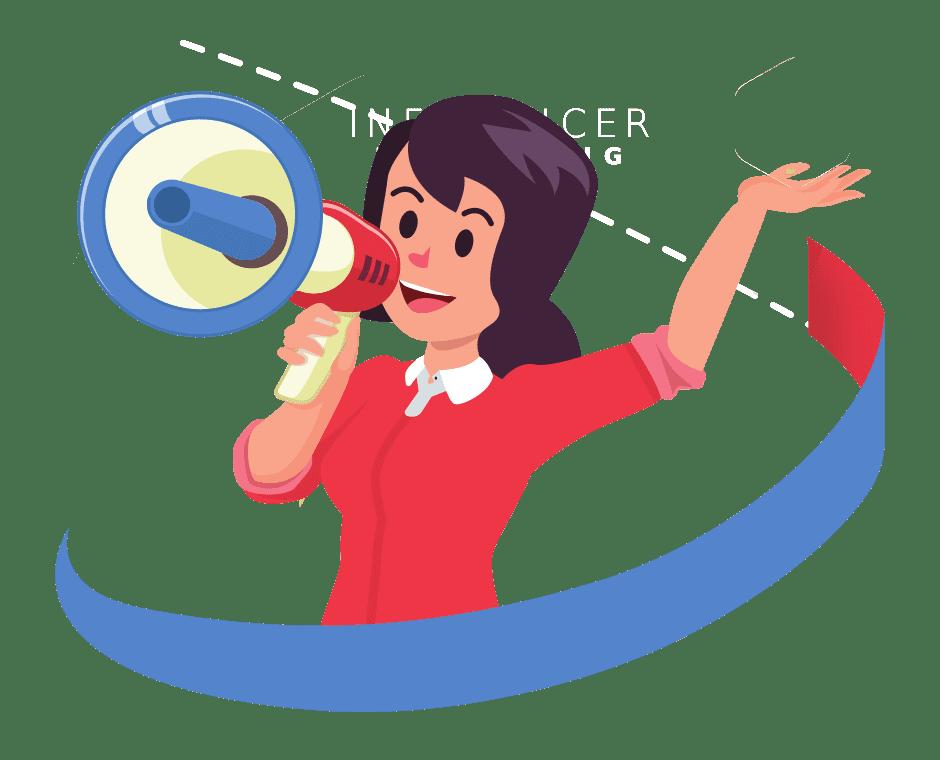 Comichafte Zeichnung einer Frau mit einem Lautsprecher