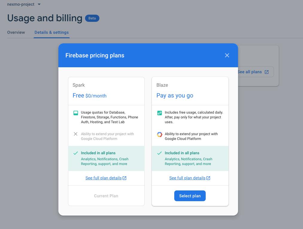 Dialog to select a Firebase Pricing Plan