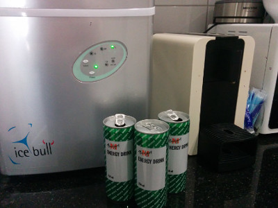 Ice maker, energy drinks and coffee
