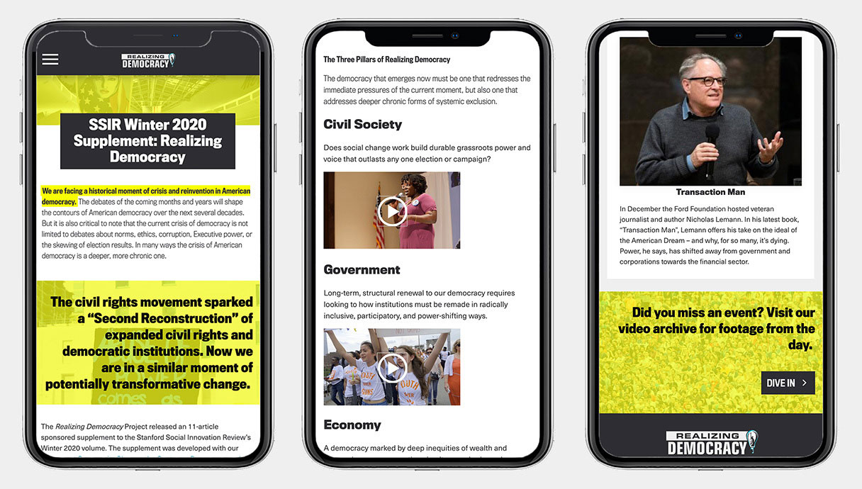 realizing democracy navigation pages viewed on three phones.