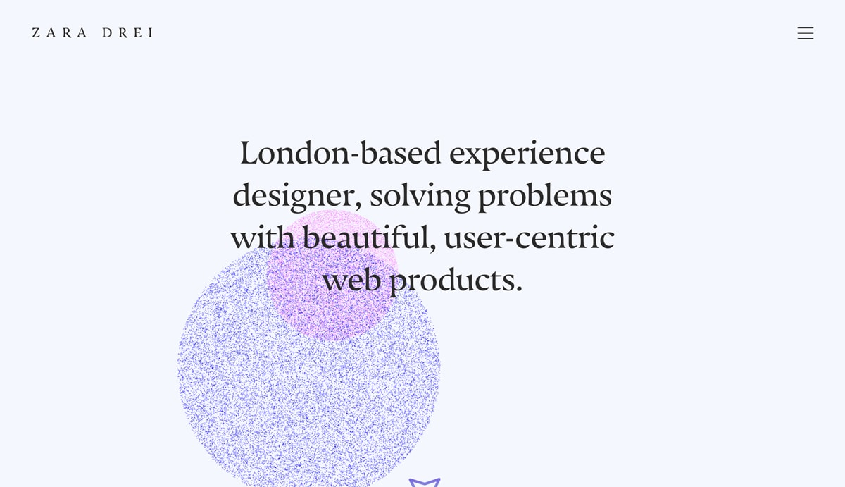 The homepage of Zara Drei's UX design portfolio