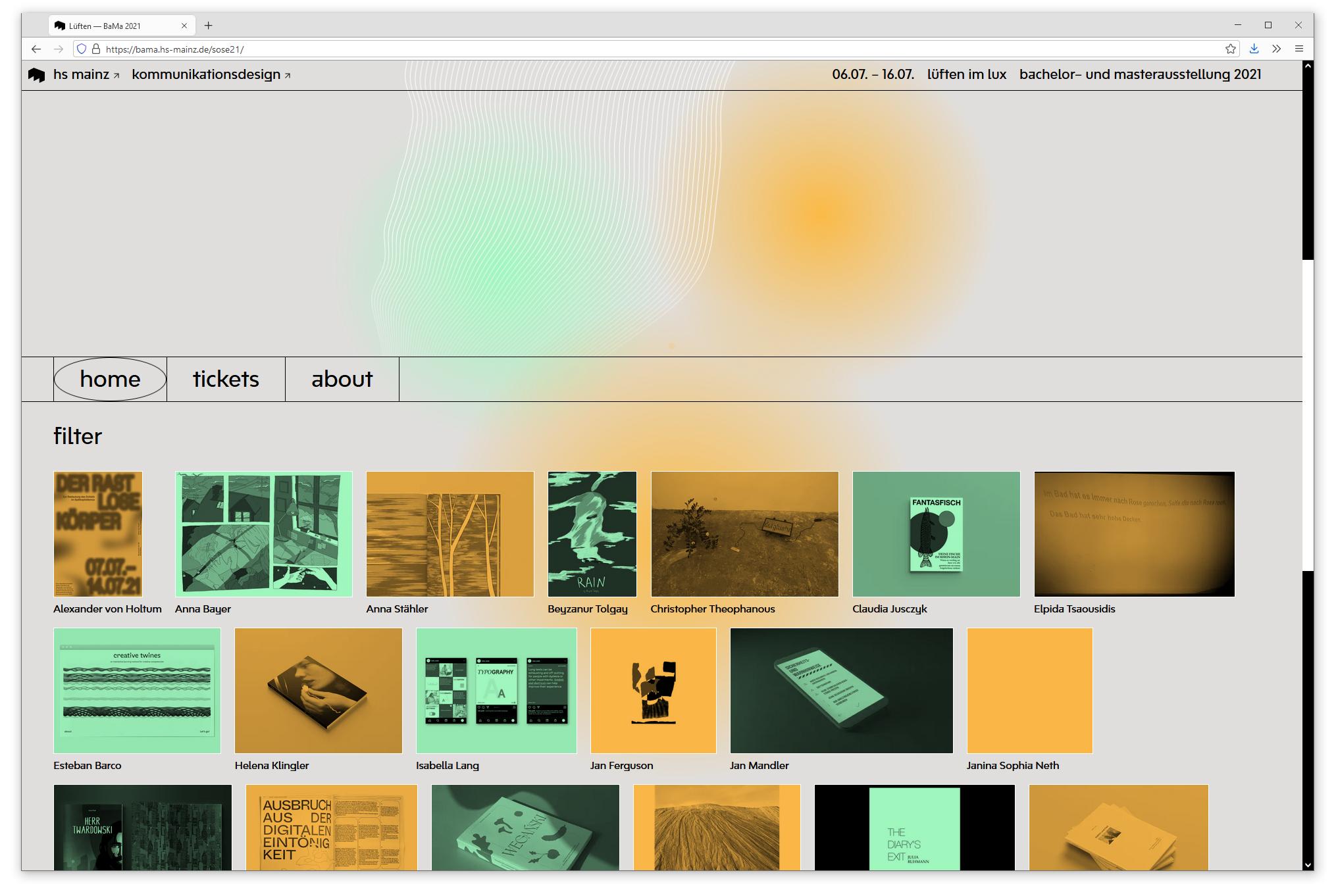 Browser screenshot showing degree show website