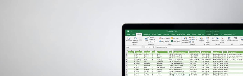 Bildschirm mit Excel