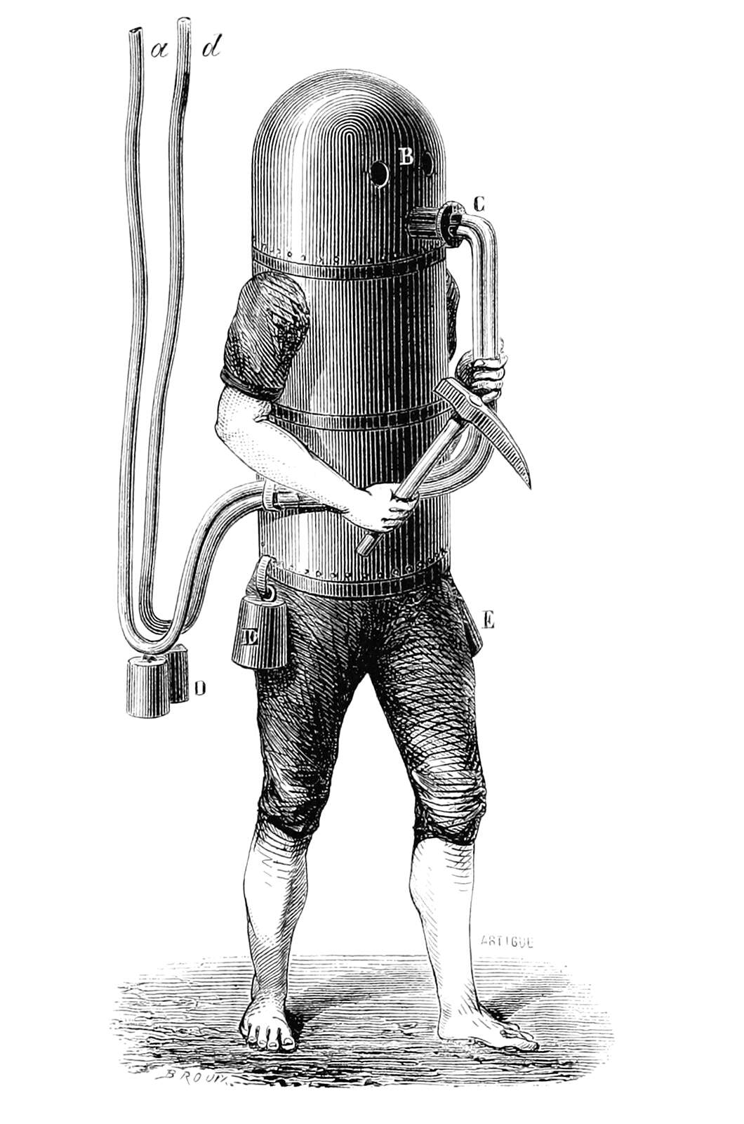 A person in a very strange underwater suit