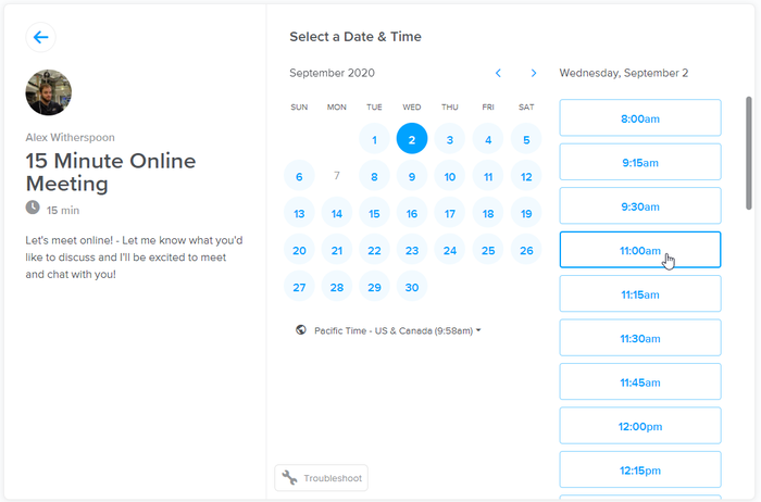 Calendly.com Example Meeting Booking Screen